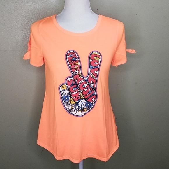 Crest Tops - Peace, Love, Music, Sun Split Sleeve T-shirt S NWT